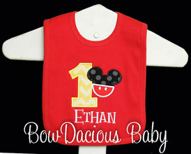 Mickey Mouse 1st Birthday Bib, Custom