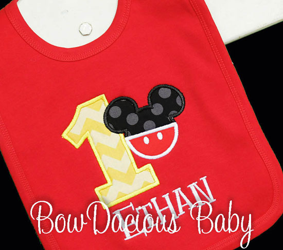 Mickey Mouse 1st Birthday Bib, Custom