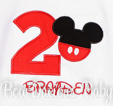 Custom Mickey Birthday Shirt, Ages 1-9