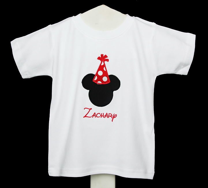 1st BIRTHDAY Mickey Hat Boy Shirt or Onesie, Disney Font Applique Personalized, You Pick the Colors