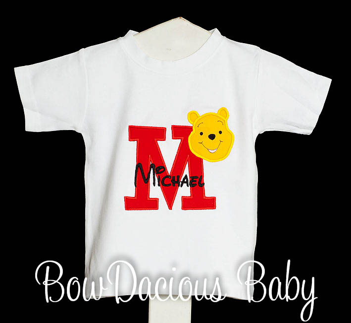 Winnie the Pooh Initial Shirt, Winnie the Pooh Sibling Birthday Shirt, Winnie the Pooh Big Brother Shirt, Any Colors