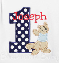 Winnie the Pooh Roo Birthday Shirt or Onesie, Custom, Boys or Girls, Long or Short Sleeves, Applique, Embroidery