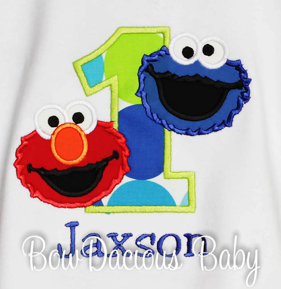 Cookie Monster and Elmo Birthday Shirt or Onesie, Custom, Any Age