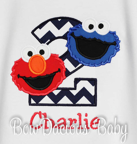 Boys Sesame Street Birthday Shirt or Onesie, Any Age, Custom Colors
