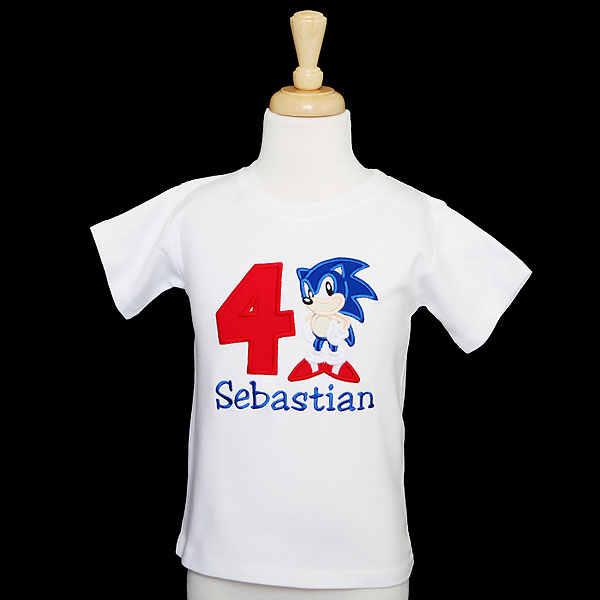 Sonic the Hedgehog Birthday Shirt or Onesie, Custom, Any Age, Personalized