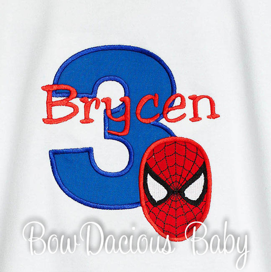 Spiderman Birthday Shirt or Onesie, Custom, Any Age