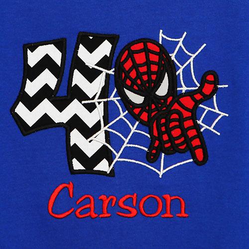 Spiderman Birthday Shirt, Custom, Embroidered, Any Age