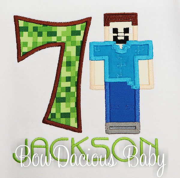 Minecraft Birthday Shirt, Minecraft Steve Birthday Shirt, Any Age, Custom, Personalized