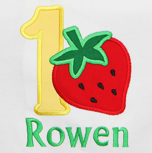 Strawberry Birthday Shirt, Custom, Any Age and Colors, Applique Embroidery