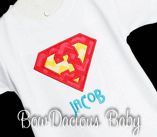Boys Superman Birthday Shirt or Onesie, Custom, Any Age
