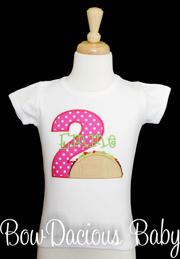 Girls Taco Birthday Shirt, Taco Tuesday Shirt for Toddler Girl, Custom
