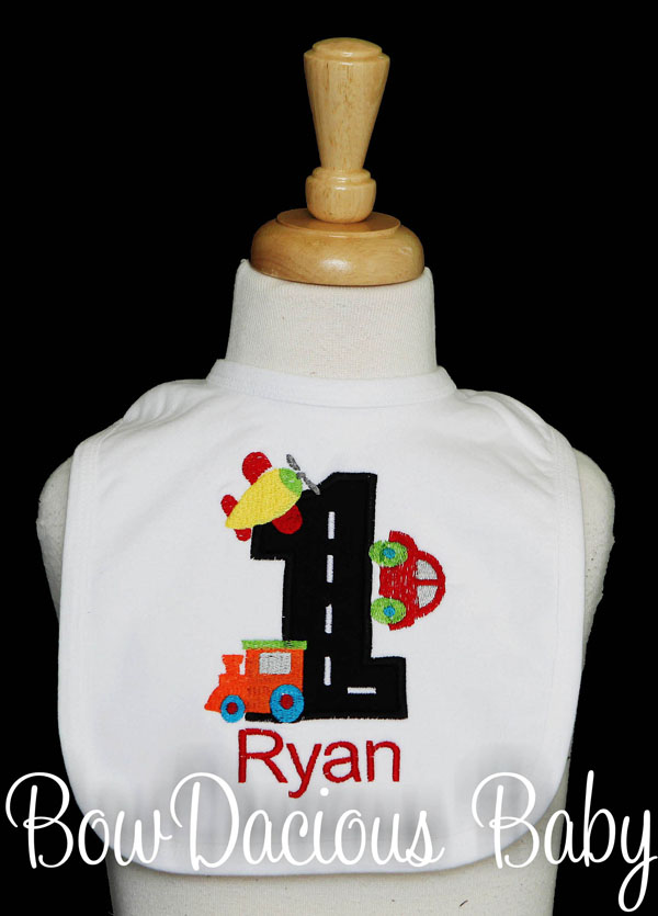 Transportation Vehicles Bib, Custom, Personalized