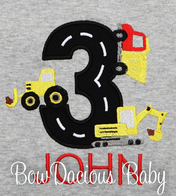 Construction Vehicles Birthday Shirt, Custom, Personalized