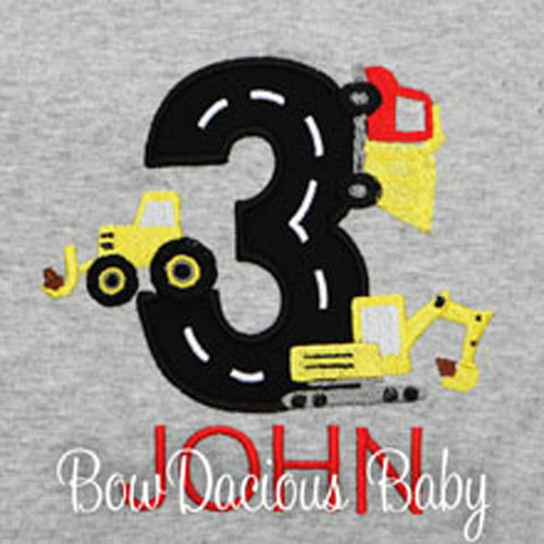 Construction Vehicles Birthday Shirt, Custom, Personalized
