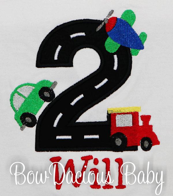 Boys Personalized Transportation Vehicles Birthday Shirt, Any Age, Custom