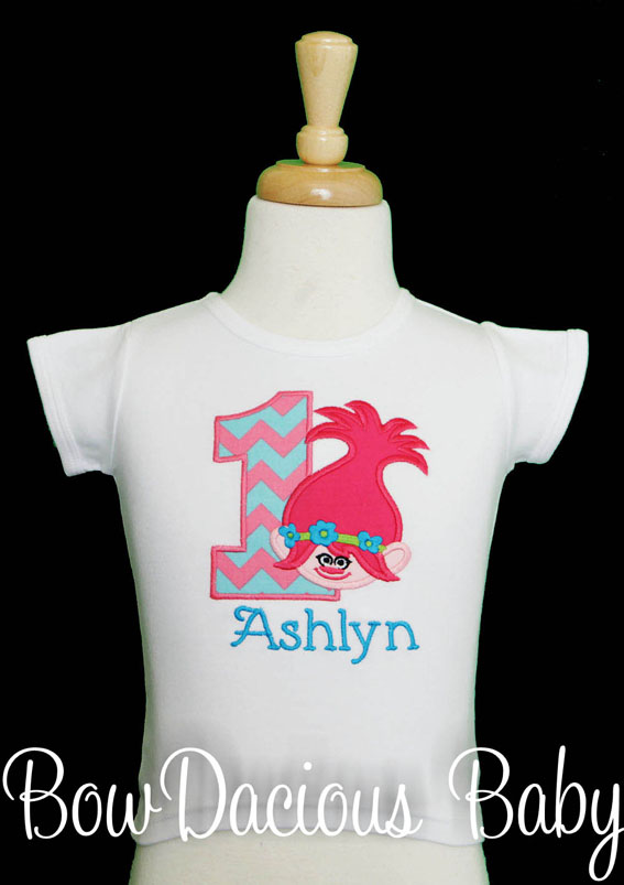 Trolls Birthday Shirt or Onesie, Custom, Any Age/Colors