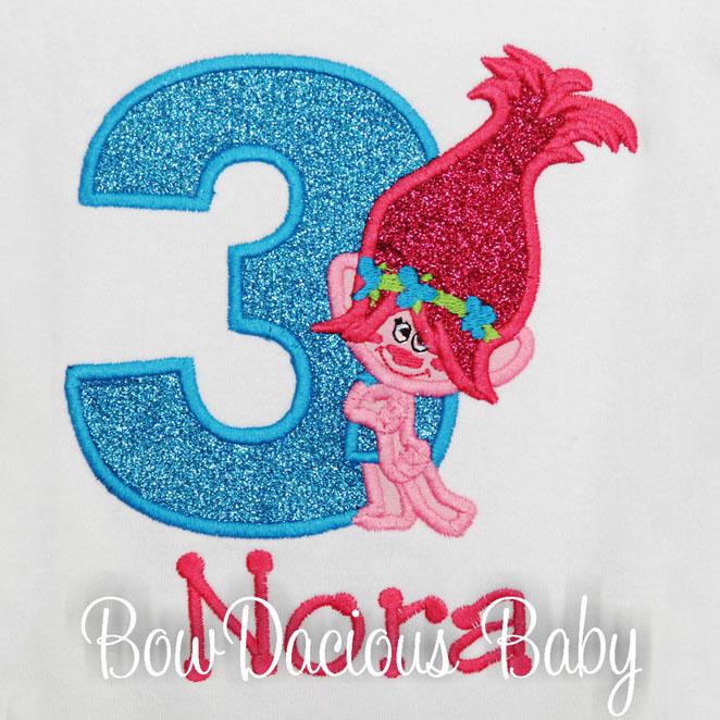 Trolls Personalized Birthday T-Shirt, Princess Poppy, Custom, Any Age/Colors