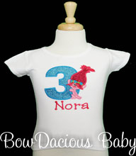 Trolls Personalized Birthday T-Shirt, Princess Poppy, Custom, Any Age/Colors