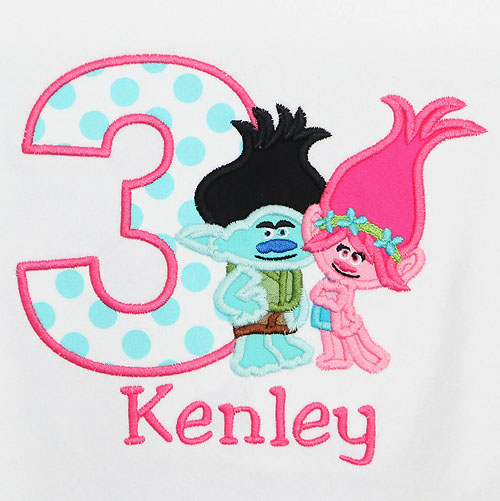 Trolls Poppy and Branch Birthday Shirt, Custom, Any Age, Any Colors, Embroidered
