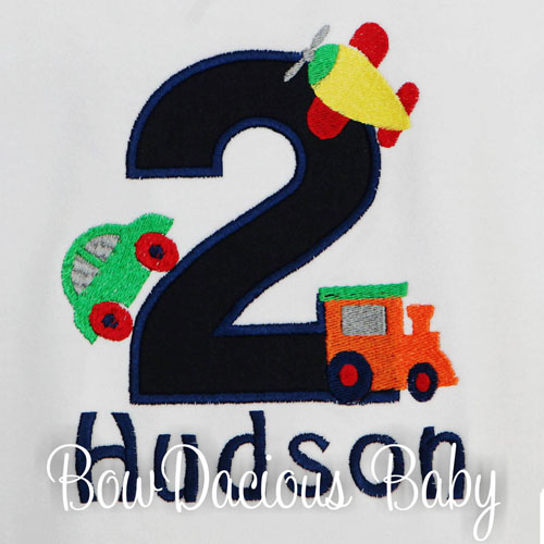 Boys Custom Personalized Transportation Vehicles Birthday Shirt, Any Age