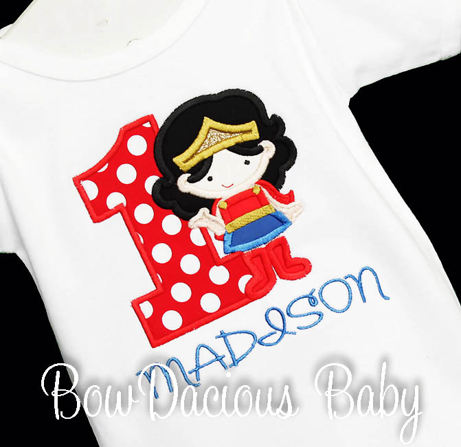 Girl's Wonder Woman Birthday Shirt or Onesie, Custom, Any Age, Any Colors