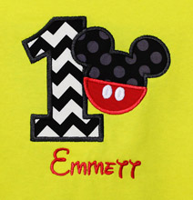 Yellow Mickey Mouse Birthday Shirt or Onesies, Custom