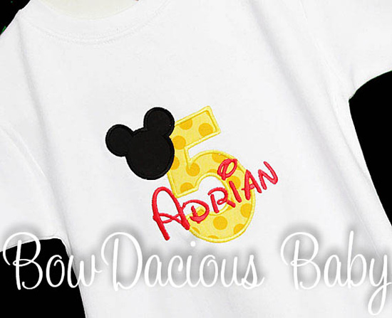 Boys Birthday Mickey Mouse Yellow Number Quick Ship Top, Custom, Shirt or Onesie, Any Age