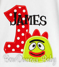 Boys Yo Gabba Gabba Birthday Shirt or Onesie, Custom, Any Age
